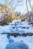 schodowy sposób z śniegiem Zdjęcie Royalty Free