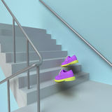 Schody na piętrze menchii buty Zdjęcie Stock