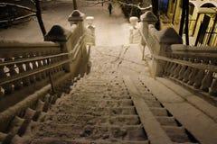 schody zakrywający z śniegiem fotografia stock
