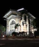 Schoelcher图书馆,堡垒de法国,马提尼克岛在晚上 库存照片
