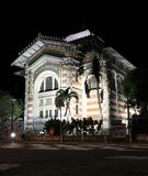 Schoelcher Library, Fort de France, Martinique at night. Night view of the Schoelcher Library Bibliotheque, in Fort de France, the capital of Martinique, the Stock Photos