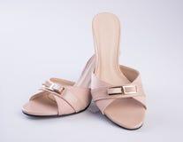 schoen of de Bruine schoenen van de kleuren toevallige vrouw op een achtergrond Stock Afbeelding