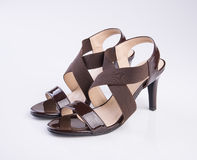 schoen of de Bruine schoenen van de kleuren toevallige vrouw op een achtergrond Stock Foto