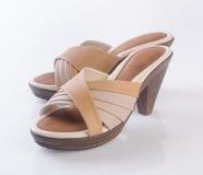 schoen of de Bruine schoenen van de kleuren toevallige vrouw op een achtergrond Royalty-vrije Stock Foto's