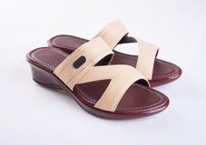 schoen of de Bruine schoenen van de kleuren toevallige vrouw op een achtergrond Stock Afbeeldingen