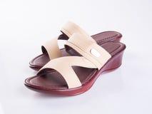 schoen of de Bruine schoenen van de kleuren toevallige vrouw op een achtergrond Royalty-vrije Stock Foto