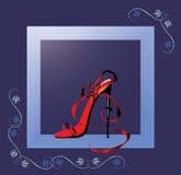 Schoen in een show-venster Royalty-vrije Stock Foto's