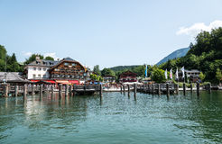 Schoenau at lake Koenigssee stock photo