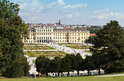 Schoenbrunn Palace and garden of vienna Royalty Free Stock Image