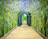 Schoenbrunn, The Palace Gardens. An oil painting on canvas of a romantic garden walkway forming a tunnel of flowering acacias at Schonbrunn Palace in Vienna Royalty Free Stock Image