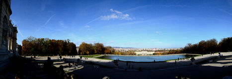Schoenbrunn palace in vienna with pond panorama Stock Photos