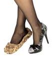 Schoenen 2 van oude en Nieuwe Vrouwen Royalty-vrije Stock Afbeeldingen