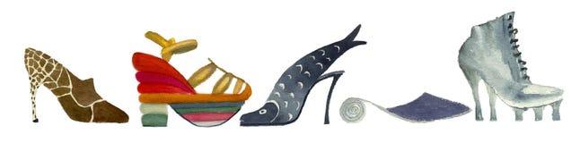 Schoenen, aquarelle het schilderen Stock Fotografie