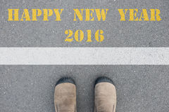 Schoenen die zich bij gelukkige nieuwe jaar 2016 lijn bevinden Royalty-vrije Stock Foto's