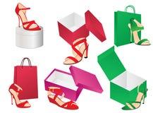 Schoenen en doos Stock Foto
