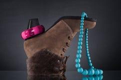 schoenen en juwelen. Royalty-vrije Stock Afbeelding