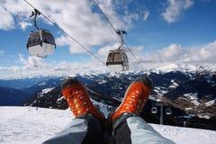 Schoenen met kabellift in Alpen Stock Foto