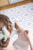 Schoenen op de huwelijksdag Stock Afbeeldingen