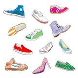 Schoenen over wit Royalty-vrije Stock Afbeelding