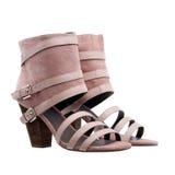 Schoenen van de de enkel de hoge zomer van dames over wit royalty-vrije stock afbeeldingen