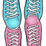 Schoenen van de zomer de in sporten Voeten in de tennisschoenen van sportenschoenen In liefde met tennisschoenen Vector Stock Fotografie