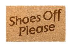 Schoenen van Welkom Mat On White stock afbeeldingen