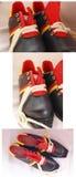 schoenen voor retro langlaufski, Stock Afbeelding