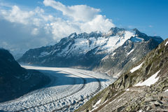 Schoenenbuelhorn and Wannenhorn with Aletsch gla Stock Image