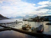 Schoeners, boten, boten op de pijler noorwegen De zomer van 2012 Stock Foto