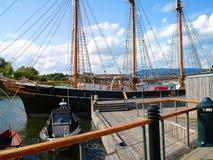 Schoeners, boten, boten op de pijler noorwegen De zomer van 2012 Stock Fotografie