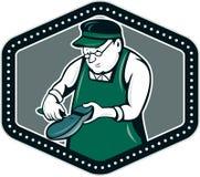 Schoenmakersschoenmaker Shield Cartoon Royalty-vrije Stock Fotografie