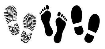 Schoenzool, het silhouetvector van voetafdrukken menselijke schoenen, voet blootvoetse voeten