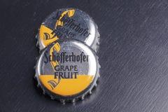 Schofferhofer啤酒瓶盖  免版税库存图片