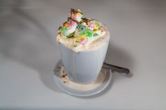 Schoggi混合物-与奶油和蛋白软糖的瑞士热巧克力 库存照片