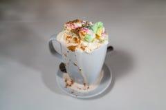 Schoggi Melange - Swiss hot chocolate with cream and marshmallow Stock Photo