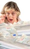 Schokierender Stapel der Rechnungen Lizenzfreies Stockfoto