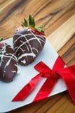 Schokolade deckte Erdbeeren ab Stockfoto