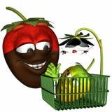 Schokolade eingetauchte Erdbeere und Schätzchen Stockfotografie