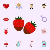 Schokolade, Erdbeere, Valentinsgrußtagesikone Lieben Sie Ikonenuniversalsatz für Netz und Mobile vektor abbildung