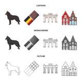 Schokolade, Kathedrale und andere Symbole des Landes Gesetzte Sammlungsikonen Belgiens in der Karikatur, Entwurf, einfarbige Art Lizenzfreies Stockbild