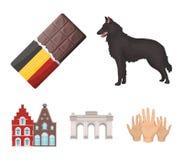 Schokolade, Kathedrale und andere Symbole des Landes Vector gesetzte Sammlungsikonen Belgiens in der Karikaturart Symbolvorrat Stockfoto
