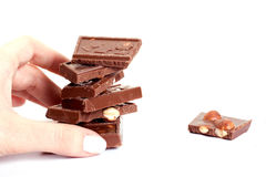 Schokolade mit auf weißem Hintergrund Lizenzfreies Stockfoto