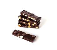 Schokolade mit Haselnüßen stockbild