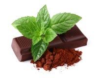 Schokolade mit Minze stockfoto