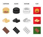 Schokolade, Nudeln, Nuggets, Soße Gesetzte Sammlungsikonen des Schnellimbisses in der Karikatur, Schwarzes, Entwurf, flaches Artv Stockfoto