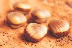 Schokolade schält Strandsand Stockbilder