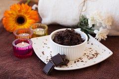 Schokolade scheuern Satz stockbilder
