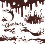Schokolade spritzt Vektorsatz Stockbilder