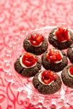 Schokolade thumbprint Plätzchen Lizenzfreies Stockfoto