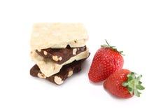Schokolade und Erdbeeren Stockfotos